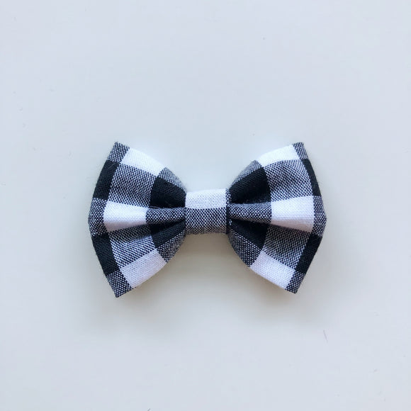 Handmade black and white gingham check classic hair bow - headband, clip or bobble