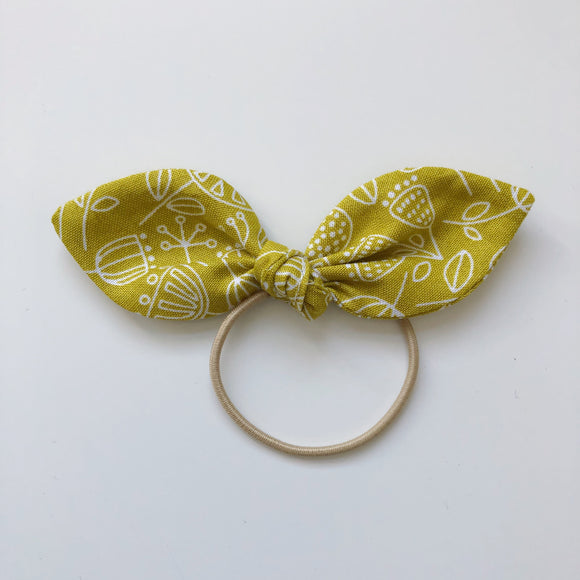Handmade mustard hair bow - headband or bobble