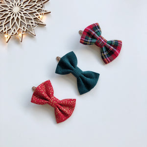 Trio of Christmas tartan, red and green hair bows - clips, bobbles or headbands