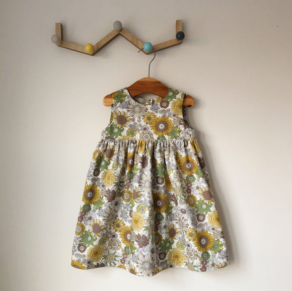 Sunflower print handmade dress