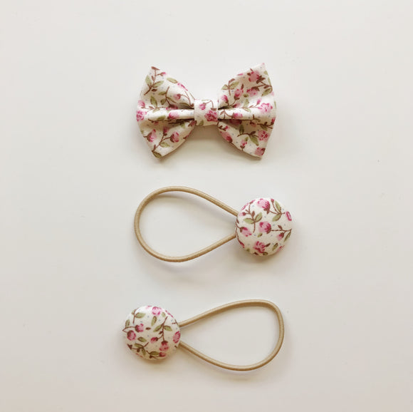 Pink ditsy floral classic hair bow clip and button bobble set
