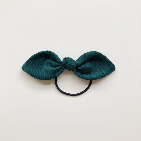 Handmade green cord hair bow - headband or bobble