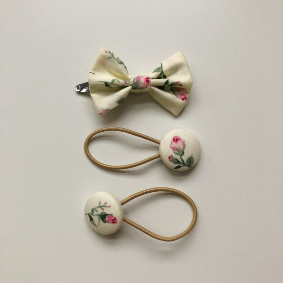 Handmade rose print hair bow clip and button bobble set