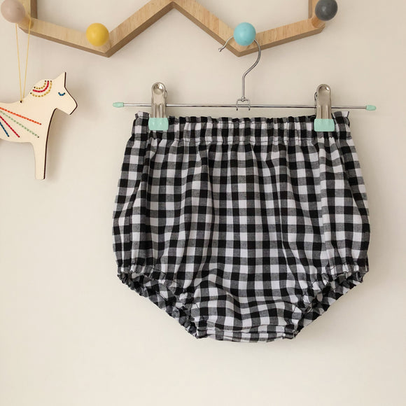 Black and white check bloomers, 9-12 months