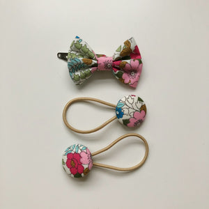 Handmade pink floral hair bow clip and button bobble set