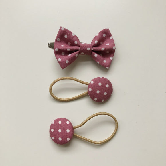 Handmade pink spot hair bow clip and button bobble set