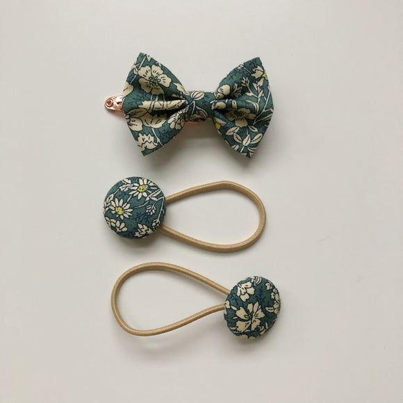 Teal floral hair bow clip and button bobble set