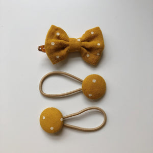 Handmade mustard hair bow clip and button bobble set