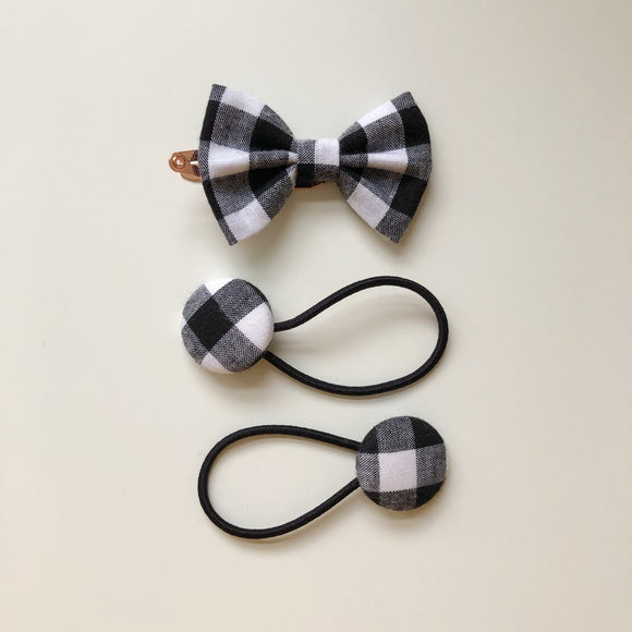Handmade black and white check hair bow clip and button bobble set