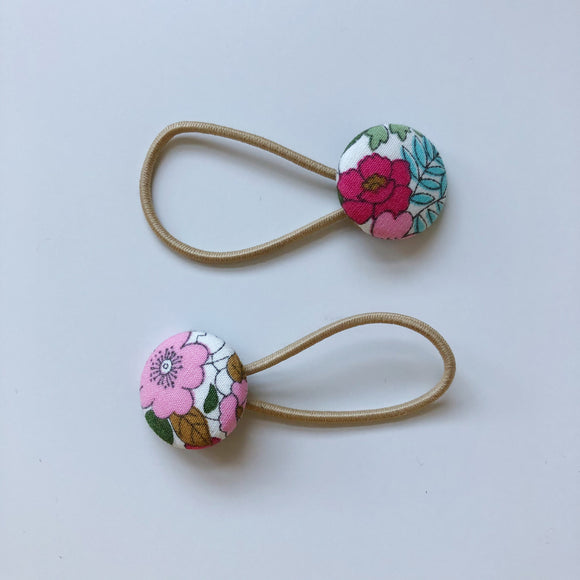 Pink floral button hair bobbles