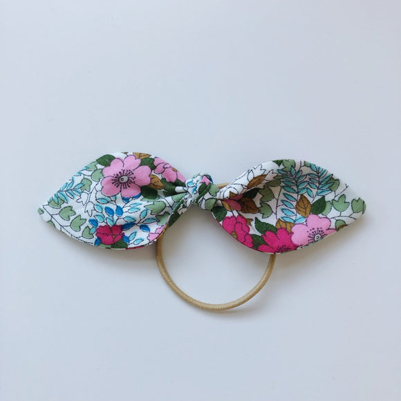 Handmade pink floral hair bow - headband or bobble