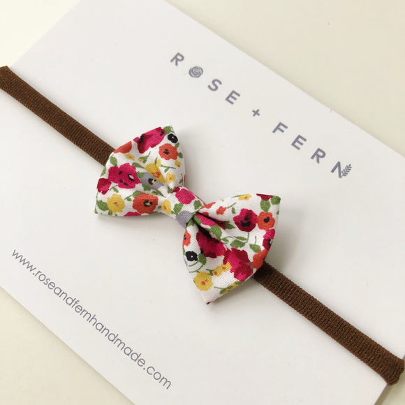 Red wildflower hair bow - clip, elastic or headband