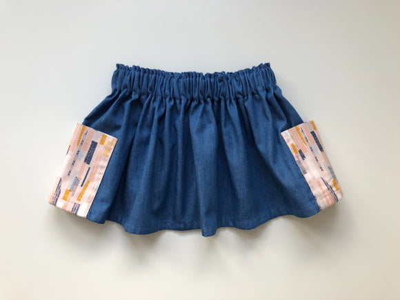 Abstract print girls twirly skirt with large pockets 2-3 years