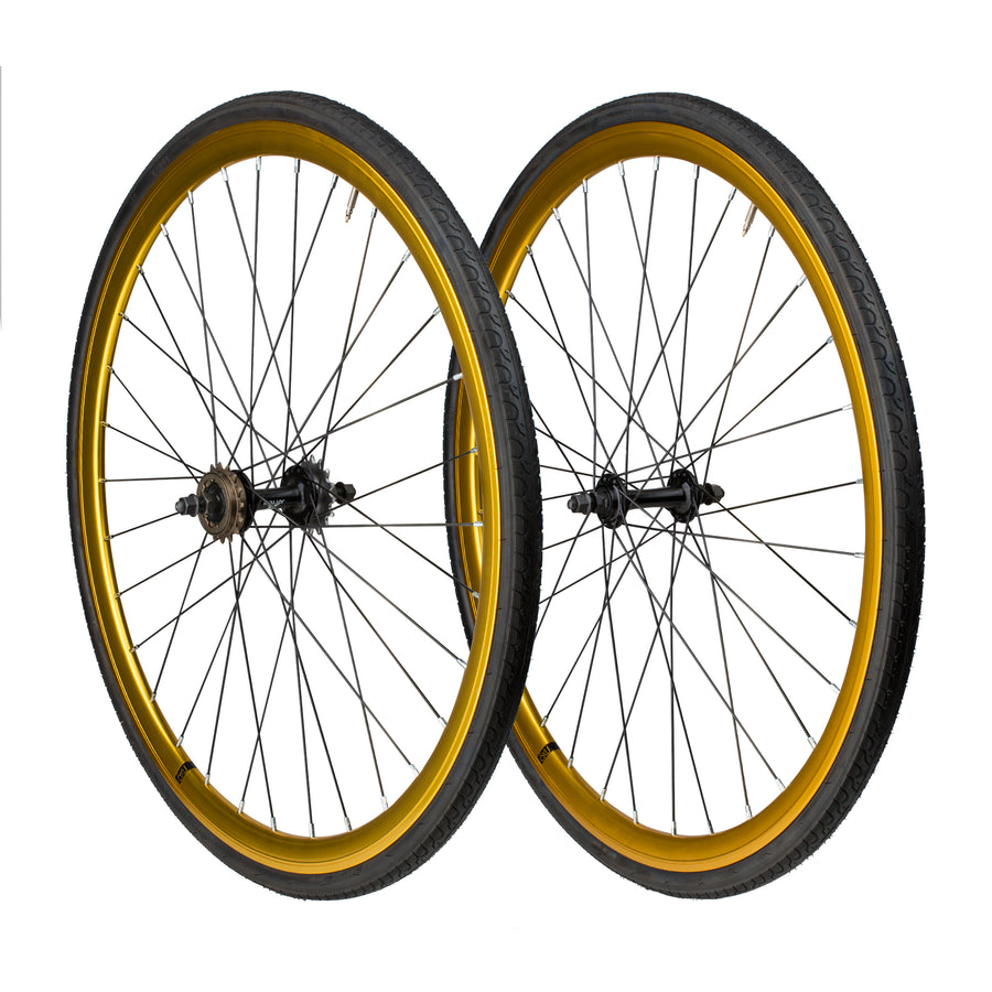 6KU Fixie Front+Rear Wheelset, Anodized Gold