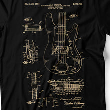 Load image into Gallery viewer, Bass Guitar Patent - Men's T-Shirt Detail