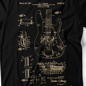 Bass Guitar Patent - Men's T-Shirt Detail