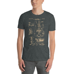 Bass Guitar Patent - Men's T-Shirt Gray 2