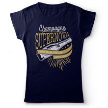 Load image into Gallery viewer, Oasis - Champagne Supernova - Women's T-shirt Navy Blue 2