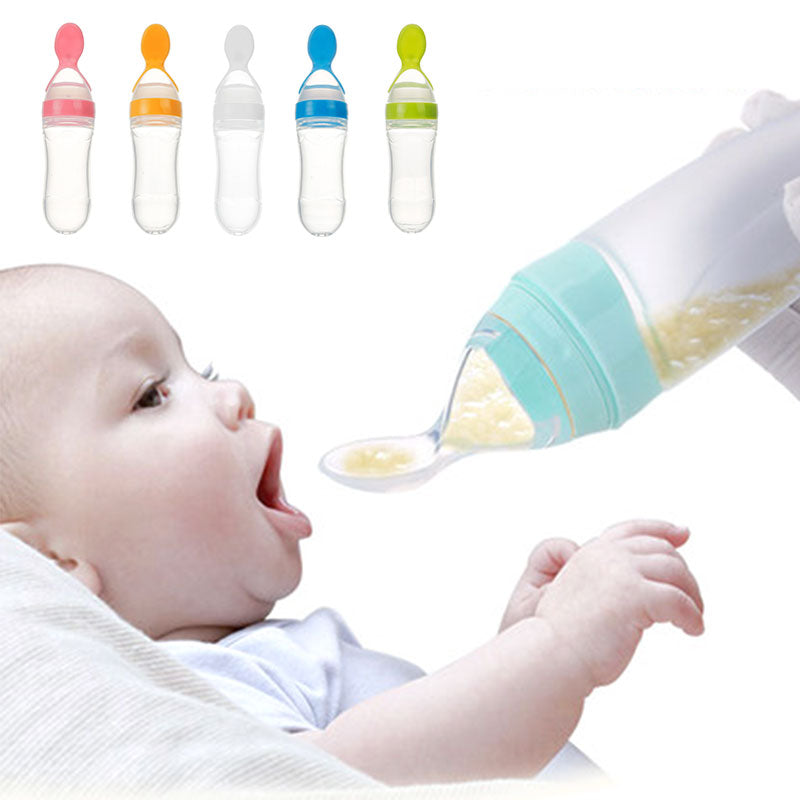 Baby Squeeze Feeding Spoon & Bottle
