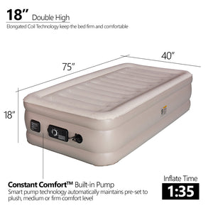 "Inflatable Air Mattress 18"" Raised Air Bed with ConstantComfort Built-in Pump (Twin) - Simpli Comfy Inflatable Air Mattress"