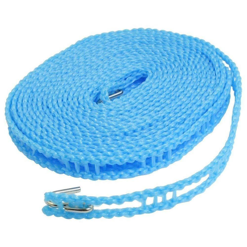 588 Nylon Clothesline, Windproof Anti-Slip Hanger Stop Rope with 2 Hooks (4 Meters)