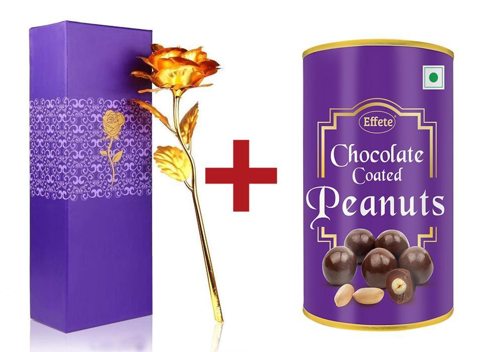 Effete Festival Gift Combo - Chocolicious Peanut 96gm with Golden Rose 10 INCHES with Carry Bag Valentine Special