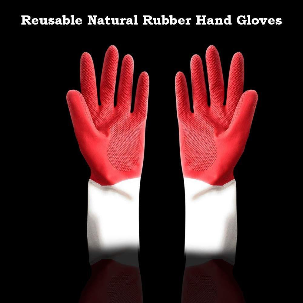 672 - Dual Color Reusable Rubber Hand Gloves (Red + White) - 1 pc