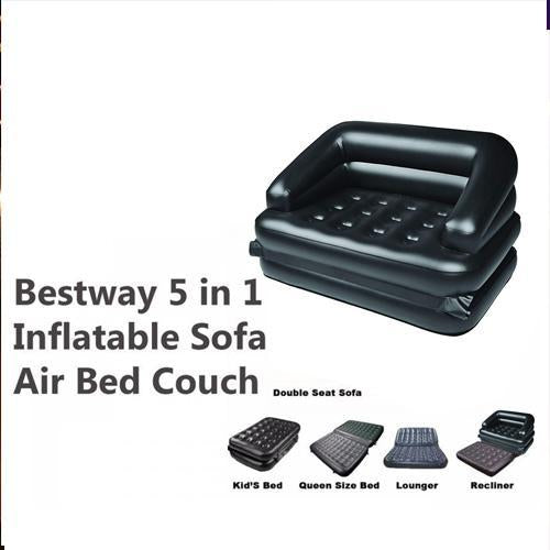 867 -5 in 1 Inflatable Three Seater Air Sofa Cum Bed with Free Electric Air Pump