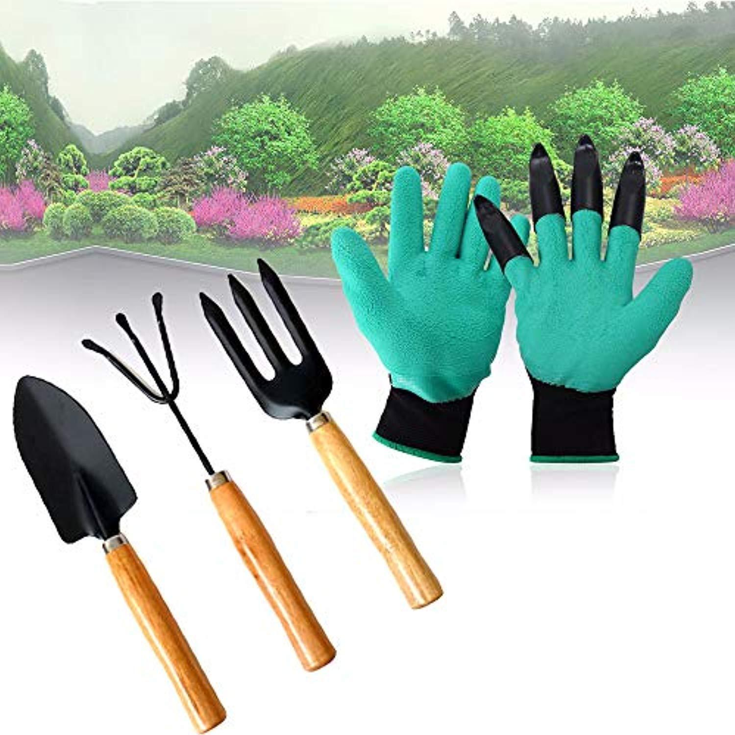 Gonowtoday Gardening Hand Cultivator, Big Digging Trowel, Shovel & Garden Gloves with Claws for Digging & Planting