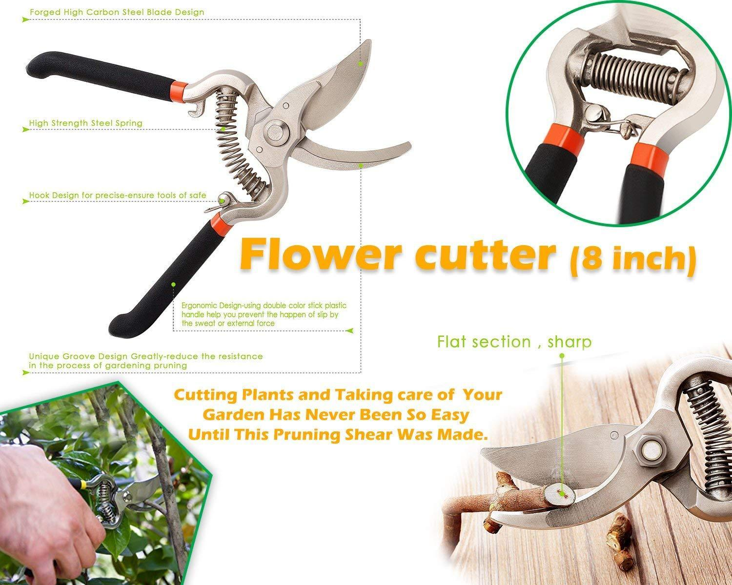 Gonowtoday Gardening Tools - Flover Cutter & Garden Tool Wooden Handle (3pcs-Hand Cultivator, Small Trowel, Garden Fork)