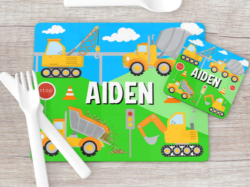8005 - Construction Site Print Placemat & Coaster