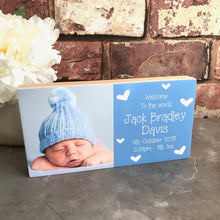 Load image into Gallery viewer, 1096 - Half & Half Photoblock - Baby details & photo