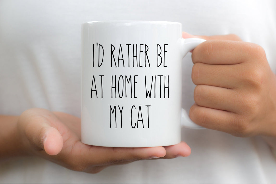7027 - I'd Rather Be At Home With My Cat Mug
