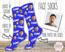 Load image into Gallery viewer, 6011 - Custom Cunt Face Photo Sweary Socks