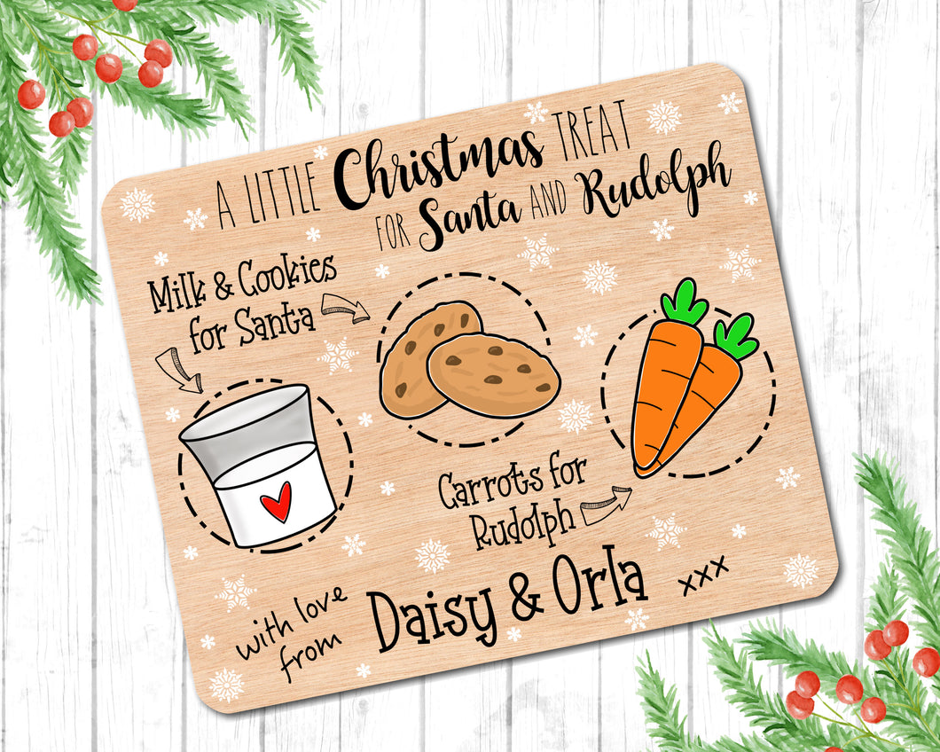 Christmas Eve Treat Plate, Santa Rudolph Treat Board, Xmas Eve, Christmas Treat, Christmas Eve Gift, Wooden Board Plate, Father Christmas