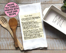 Load image into Gallery viewer, Recipe Towel, Personalised Kitchen Towel With Your Own Handwritten Recipe, Flour Sack Custom, Grandmas Recipe, Dish Towel, Gift for Grandma