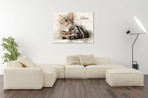 4002 - Custom Cat Watercolour Canvas