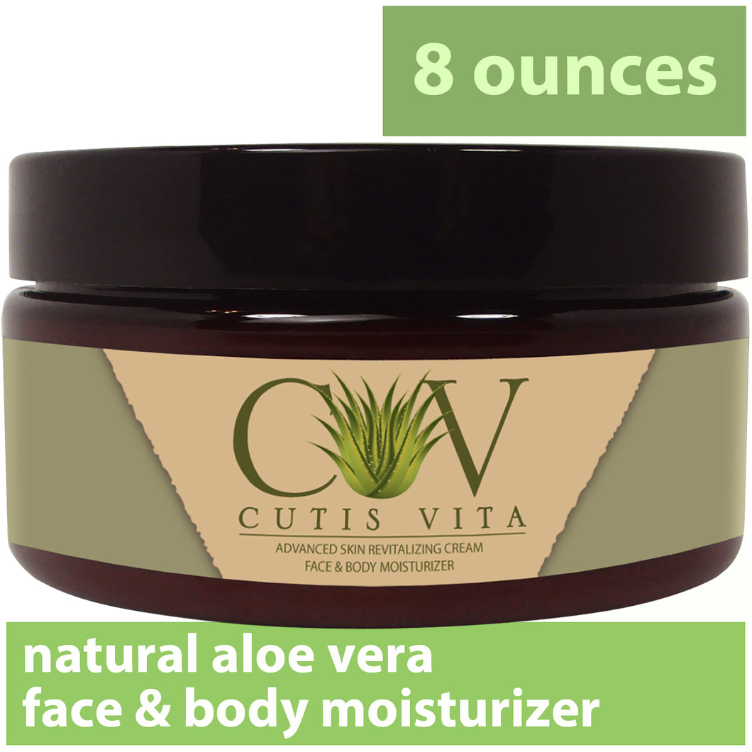 Natural Moisturizing Cream – Aloe Vera and Shea Butter developed for Eczema Rosacea Psoriasis Rashes Redness and Cracked Itchy Skin Relief – Relieve Dry Skin Naturally (8 .oz Jar plus Free 1/2 .oz )