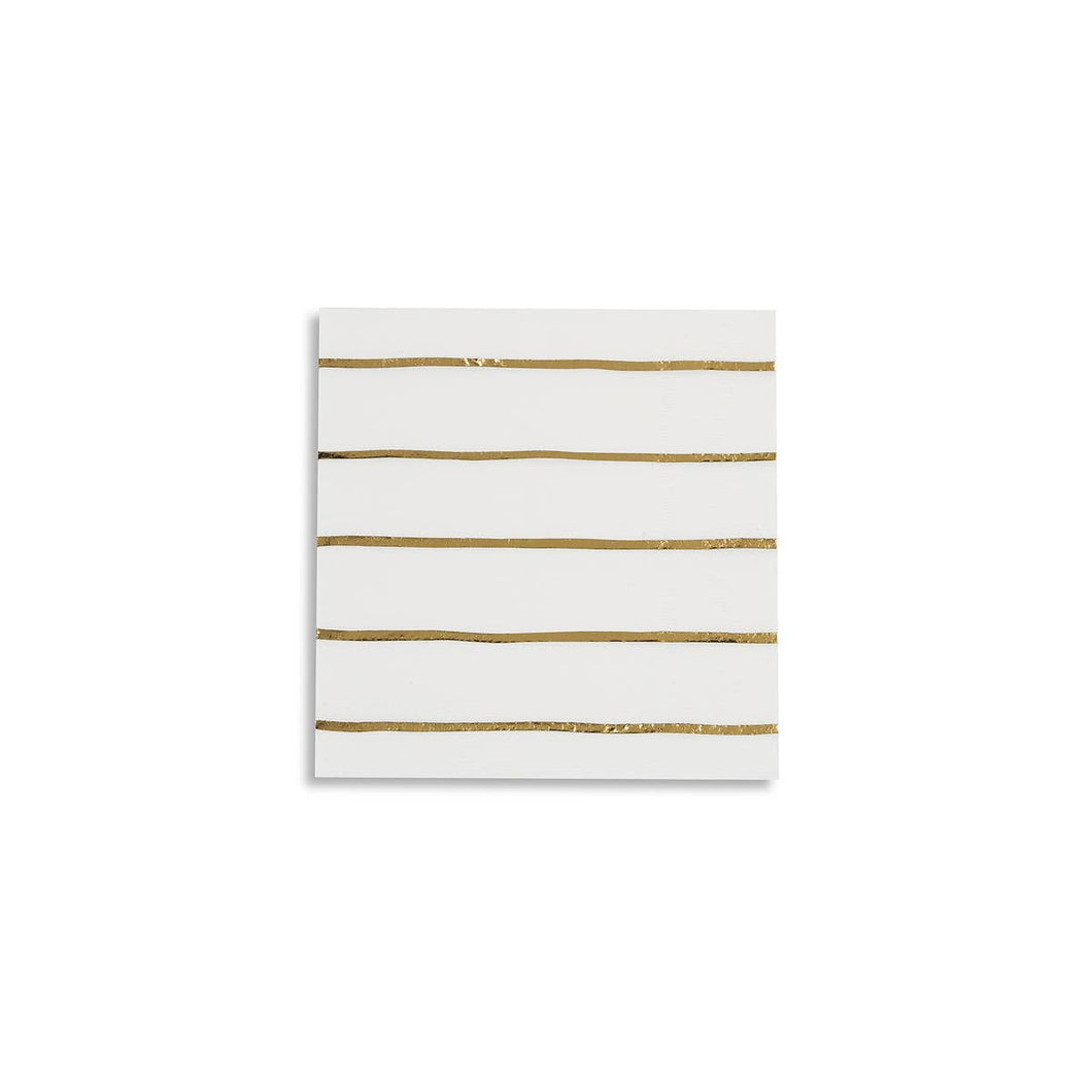 Frenchie Striped Petite Napkins (Pack of 16)  Gold Foil