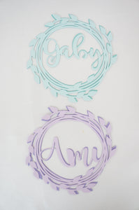 mint and lilac cake topper