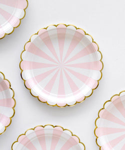 Pastel Pink Stripe Party Plates (small) - Open Pack