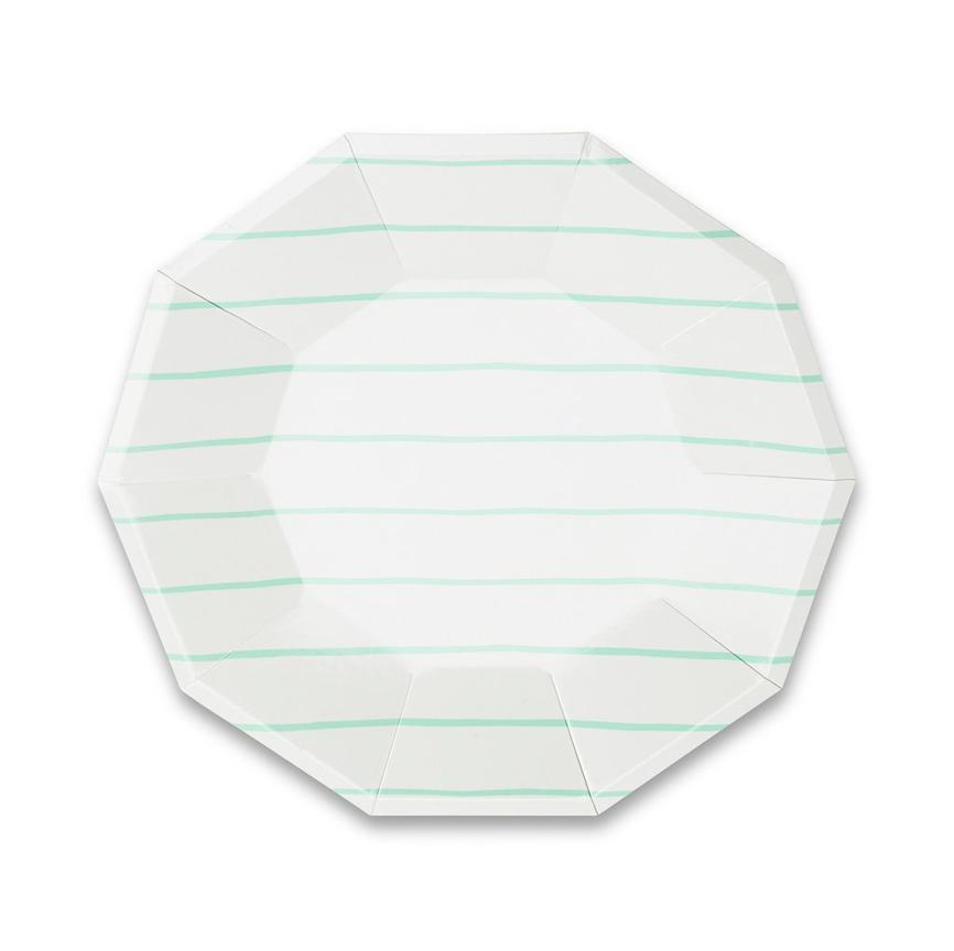 Frenchie Striped Large Plates - Mint