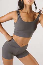 Gunmetal Scoop Neck Sports Bra