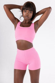 Mid Pink Scoop Neck Sports Bra