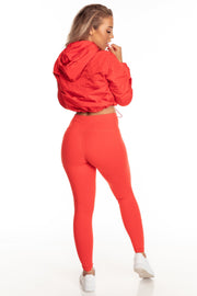 Red High Waist Leggings