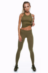 Khaki Mid Waist Leggings