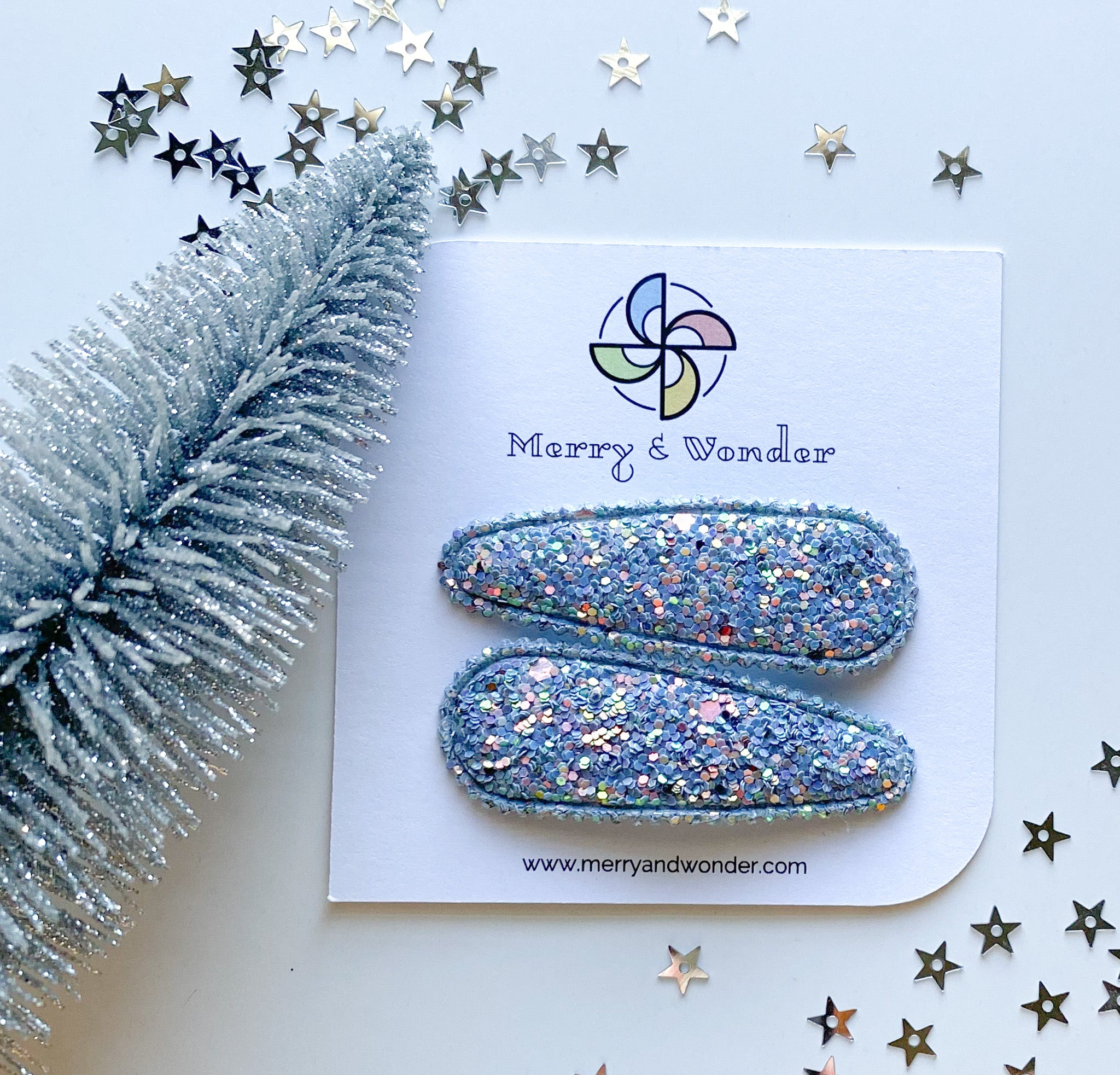 Pale Blue | Glitter Snap Clips