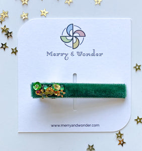 Emerald | Embellished Velvet Bar Clip