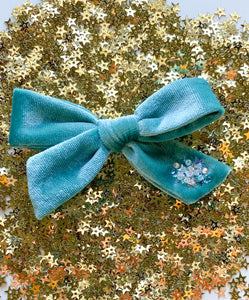 Aqua | Embellished Velvet Hair Bow