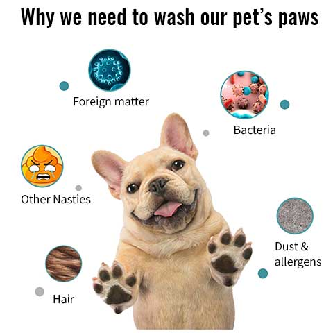 Pet paw washer will clean many nasties from your dogs feet, leaving them clean and smelling fresh. No more muddy carpets or car seats.